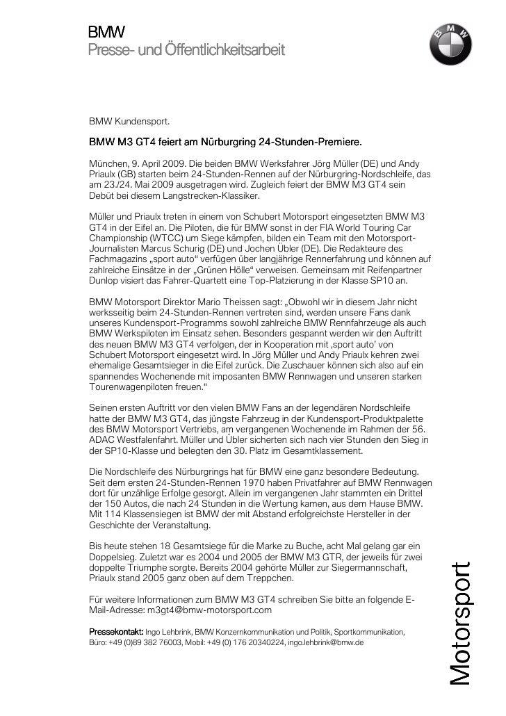 BMWPresse-Presse- und ÖffentlichkeitsarbeitBMW Kundensport.                                 24-Stunden-BMW M3 GT4 feiert a...