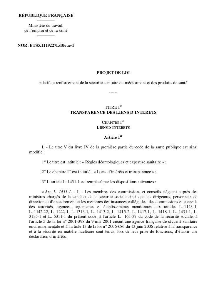 RÉPUBLIQUE FRANÇAISE         ————    Ministère du travail,  de l'emploi et de la santé         ————NOR: ETSX1119227L/Bleue...