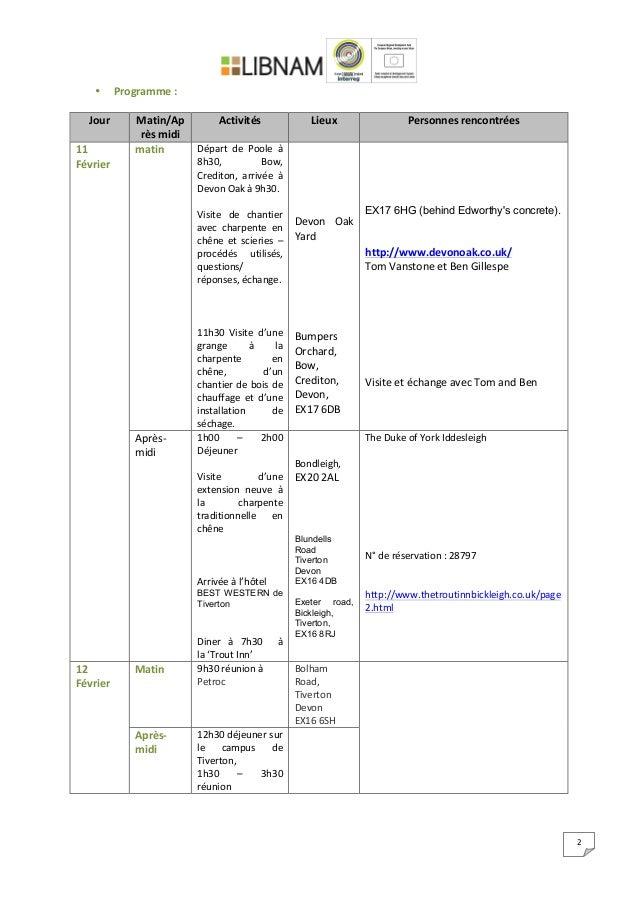 2   • Programme  :      Jour   Matin/Ap rès  midi   Activités   Lieux   Personnes  rencont...