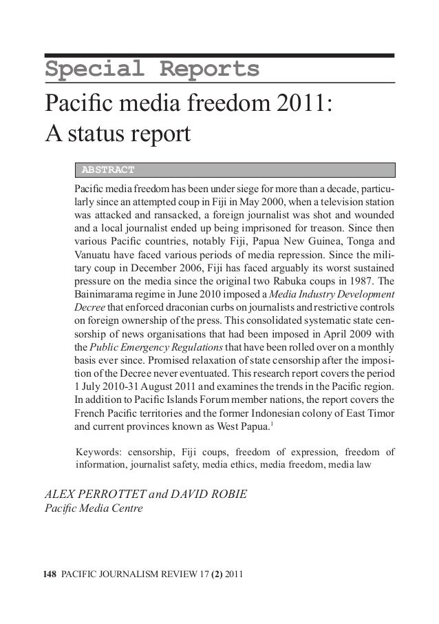 MEDIA, CULTURAL DIVERSITY AND COMMUNITYSpecial ReportsPacific media freedom 2011:A status report        ABSTRACT      Paci...