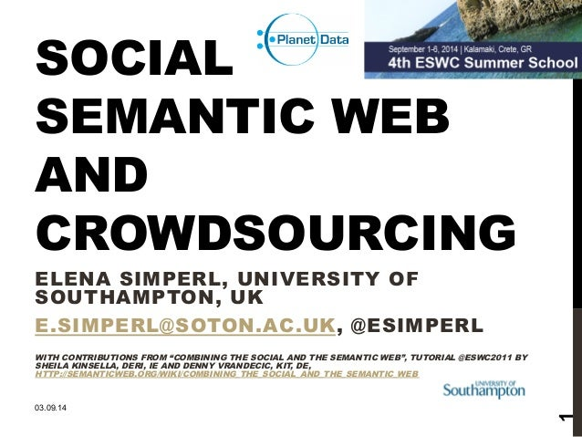 SOCIAL  SEMANTIC WEB  AND  CROWDSOURCING  ELENA SIMPERL, UNIVERSITY OF  SOUTHAMPTON, UK  E.SIMPERL@SOTON.AC.UK, @ESIMPERL ...