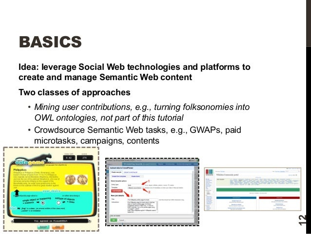 BASICS  Idea: leverage Social Web technologies and platforms to  create and manage Semantic Web content  Two classes of ap...