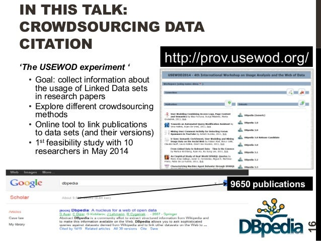 IN THIS TALK:  CROWDSOURCING DATA  CITATION  'The USEWOD experiment '  • Goal: collect information about  the usage of Lin...