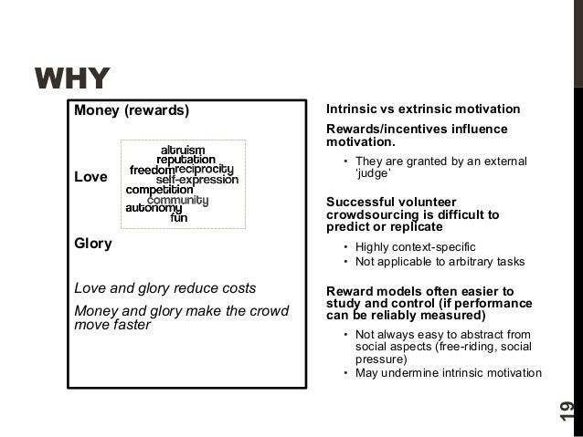WHY  Money (rewards)  Love  Glory  Love and glory reduce costs  Money and glory make the crowd  move faster  Intrinsic vs ...