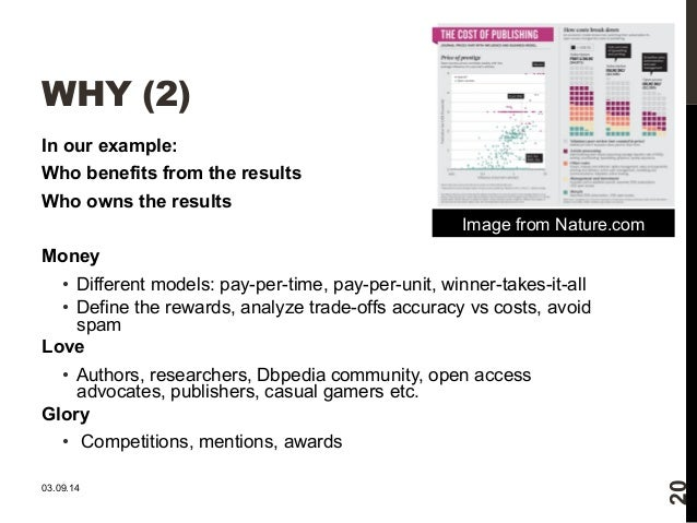 WHY (2)  In our example:  Who benefits from the results  Who owns the results  Money  • Different models: pay-per-time, pa...