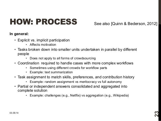 HOW: PROCESS  In general:  • Explicit vs. implicit participation  • Affects motivation  See also [Quinn & Bederson, 2012] ...