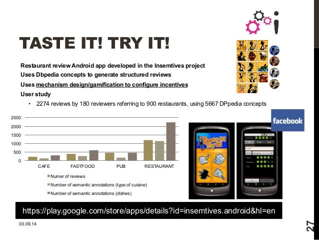 TASTE IT! TRY IT!  Restaurant review Android app developed in the Insemtives project  Uses Dbpedia concepts to generate st...