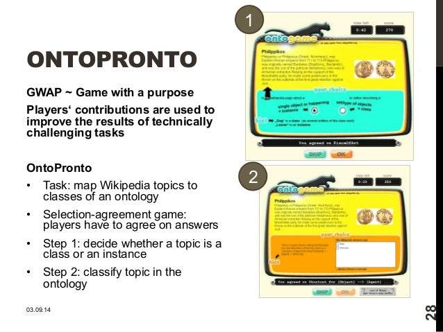 ONTOPRONTO  GWAP ~ Game with a purpose  Players' contributions are used to  improve the results of technically  challengin...