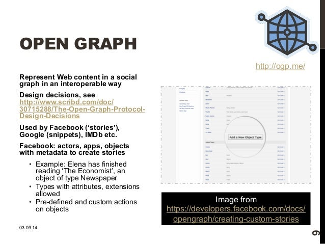 OPEN GRAPH  Represent Web content in a social  graph in an interoperable way  Design decisions, see  http://www.scribd.com...