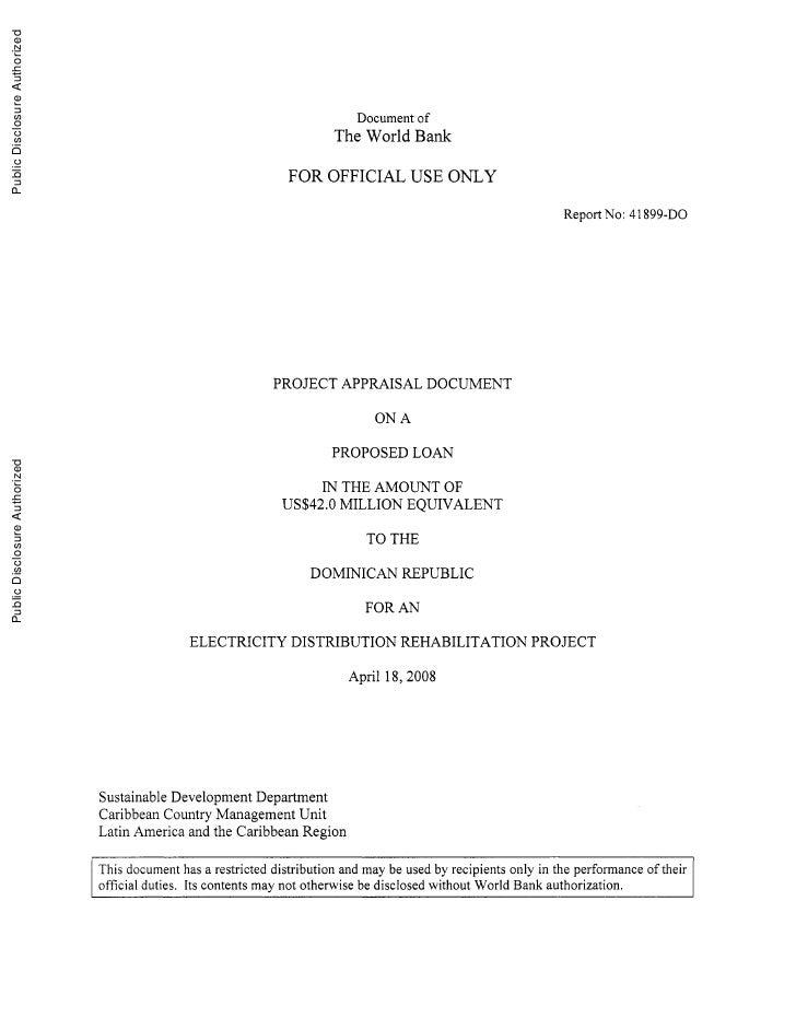 Public Disclosure Authorized                                                                                   Document o ...