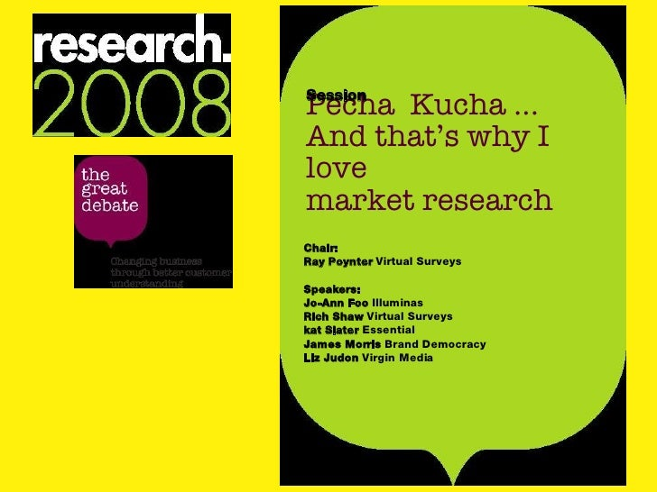 Pecha  Kucha ... And that's why I love  market research Session Chair: Ray Poynter  Virtual Surveys Speakers: Jo-Ann Foo  ...