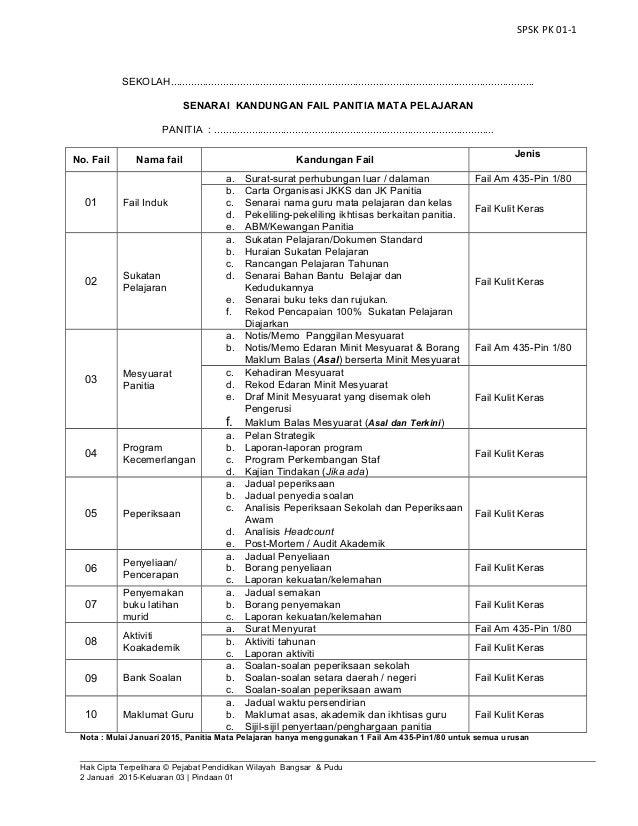 Pk01 1 Senarai Kandungan Fail Panitia Baharu