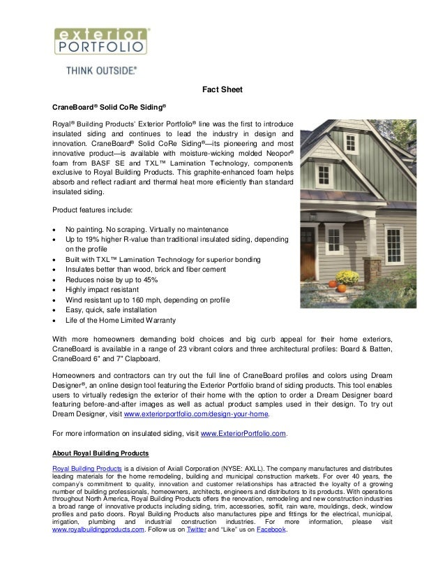 Royal Building Products Fact Sheets