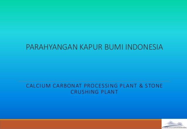 PARAHYANGAN KAPUR BUMI INDONESIA CALCIUM CARBONAT PROCESSING PLANT & STONE CRUSHING PLANT