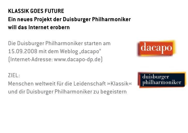 KlassiK goes Future ein neues Projekt der Duisburger Philharmoniker will das internet erobern  Die Duisburger Philharmonik...
