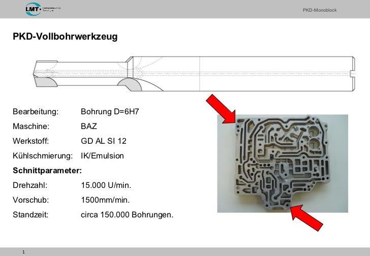 PKD-Vollbohrwerkzeug Bearbeitung: Bohrung D=6H7 Maschine:  BAZ Werkstoff: GD AL SI 12 Kühlschmierung: IK/Emulsion Schnittp...