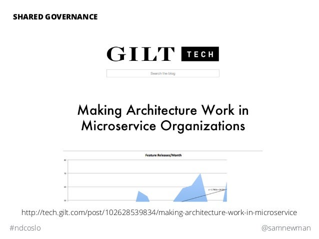 @samnewman#ndcoslo http://tech.gilt.com/post/102628539834/making-architecture-work-in-microservice SHARED GOVERNANCE