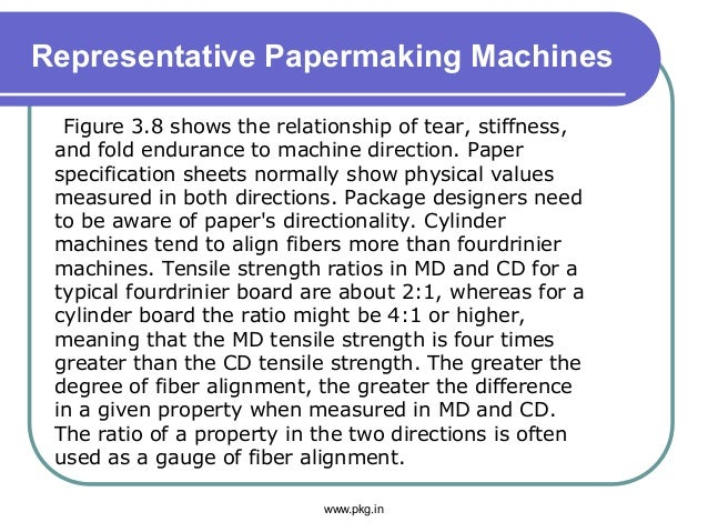 Representative Papermaking Machines Figure 3.8 shows the relationship of tear, stiffness, and fold endurance to machine di...