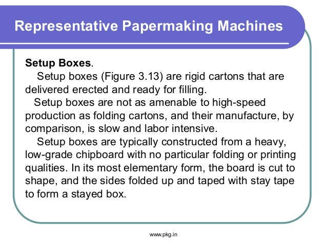 Representative Papermaking Machines Setup Boxes. Setup boxes (Figure 3.13) are rigid cartons that are delivered erected an...