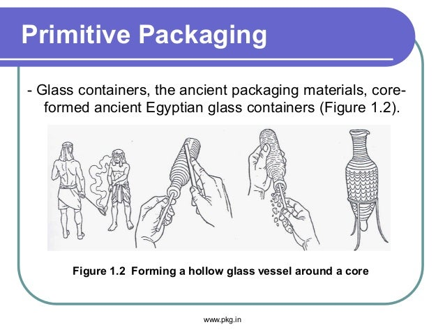 Primitive Packaging - Glass containers, the ancient packaging materials, core- formed ancient Egyptian glass containers (F...