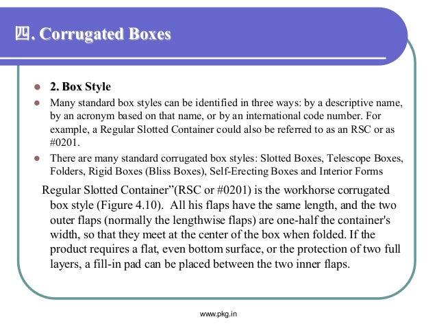 四. Corrugated Boxes  2. Box Style  Many standard box styles can be identified in three ways: by a descriptive name, by a...