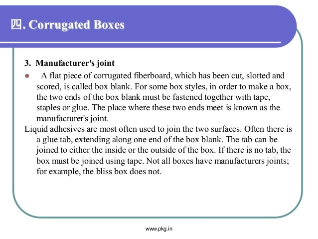四. Corrugated Boxes 3. Manufacturer's joint  A flat piece of corrugated fiberboard, which has been cut, slotted and score...