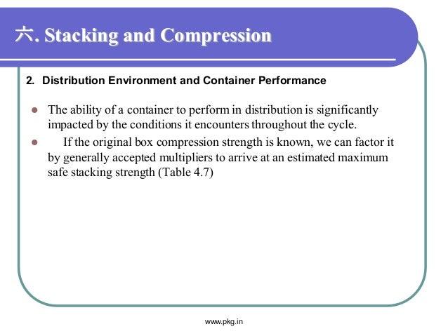 六. Stacking and Compression  The ability of a container to perform in distribution is significantly impacted by the condi...