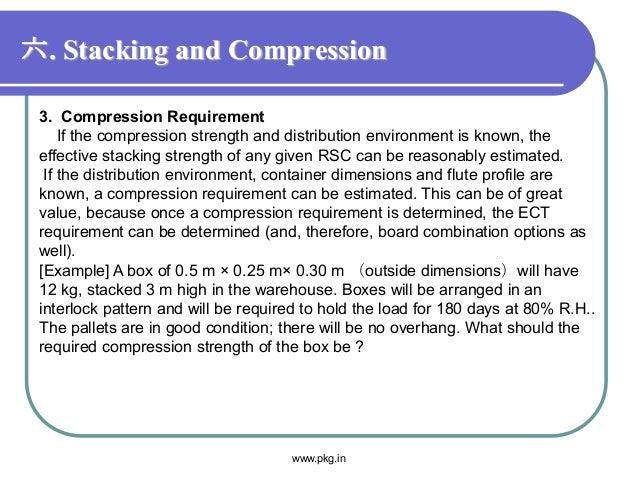 六. Stacking and Compression 3. Compression Requirement If the compression strength and distribution environment is known, ...