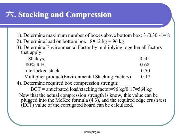 六. Stacking and Compression 1). Determine maximum number of boxes above bottom box: 3 /0.30 -1= 8 2). Determine load on bo...