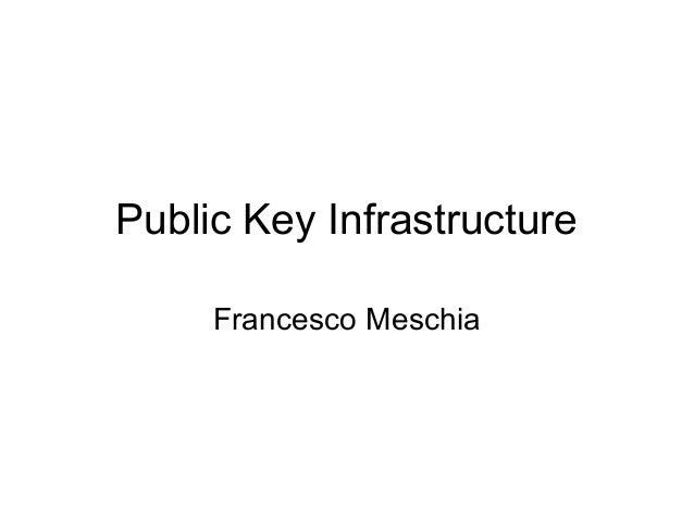 Public Key Infrastructure     Francesco Meschia