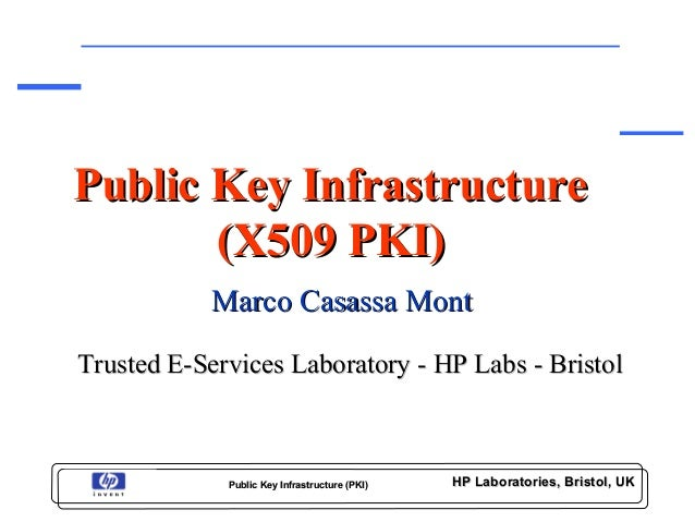 HP Laboratories, Bristol, UKHP Laboratories, Bristol, UKPublic Key Infrastructure (PKI)Public Key Infrastructure (PKI)Publ...
