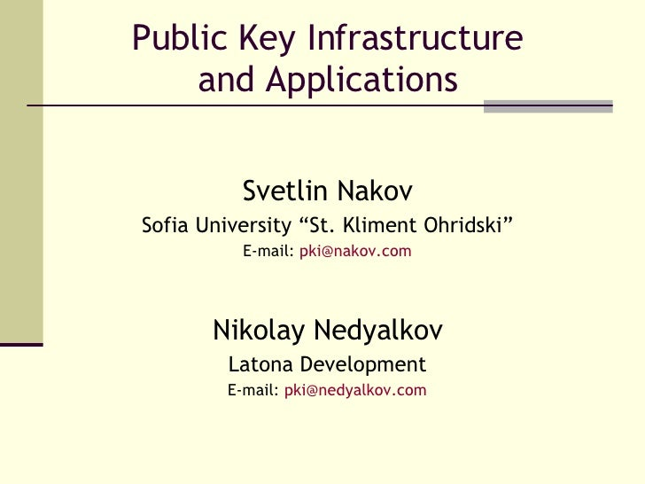 "Public Key Infrastructure and Applications Svetlin Nakov Sofia University ""St. Kliment Ohridski"" E-mail:  [email_address] ..."