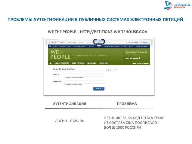 ПРОБЛЕМЫ  АУТЕНТИФИКАЦИИ  В  ПУБЛИЧНЫХ  СИСТЕМАХ  ЭЛЕКТРОННЫХ  ПЕТИЦИЙ   WE  THE  PEOPLE     HTTP://...