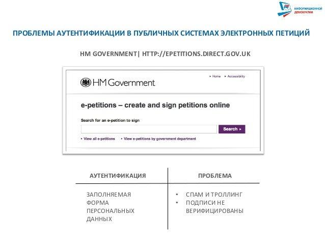 HM  GOVERNMENT   HTTP://EPETITIONS.DIRECT.GOV.UK   АУТЕНТИФИКАЦИЯ   ПРОБЛЕМА   ЗАПОЛНЯЕМАЯ   ФОРМА   ПЕРСОНА...