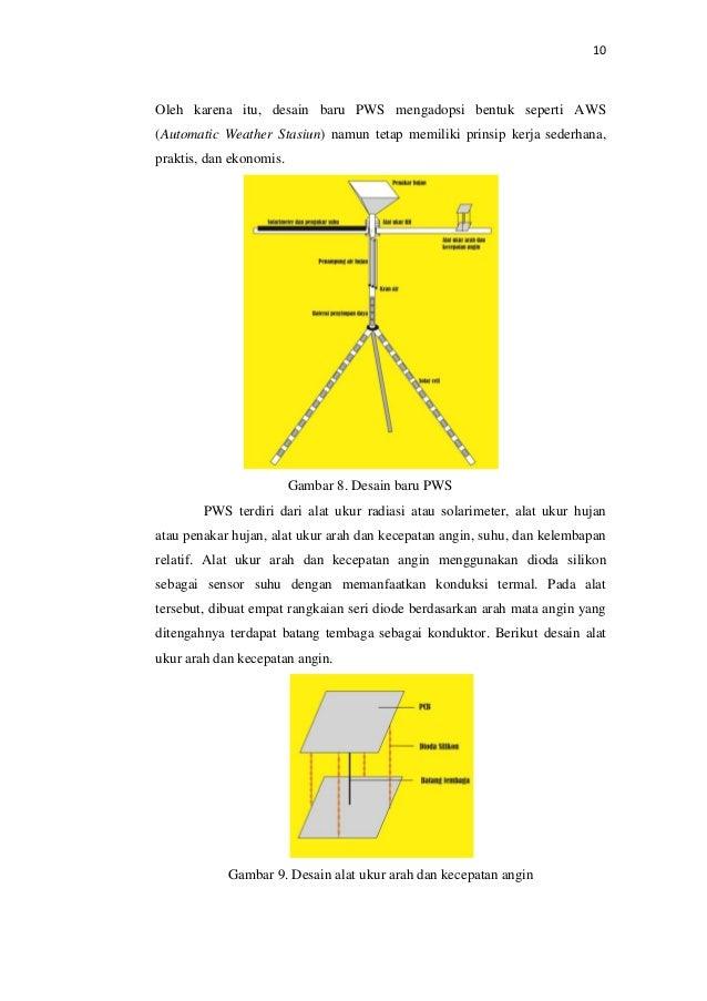 10 Oleh karena itu, desain baru PWS mengadopsi bentuk seperti AWS (Automatic Weather Stasiun) namun tetap memiliki prinsip...