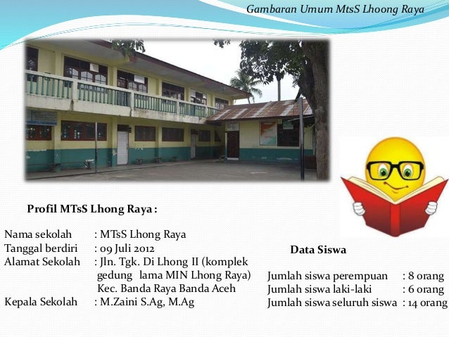 Gambaran Umum MtsS Lhoong Raya  Profil MTsS Lhong Raya :  Nama sekolah : MTsS Lhong Raya  Tanggal berdiri : 09 Juli 2012  ...