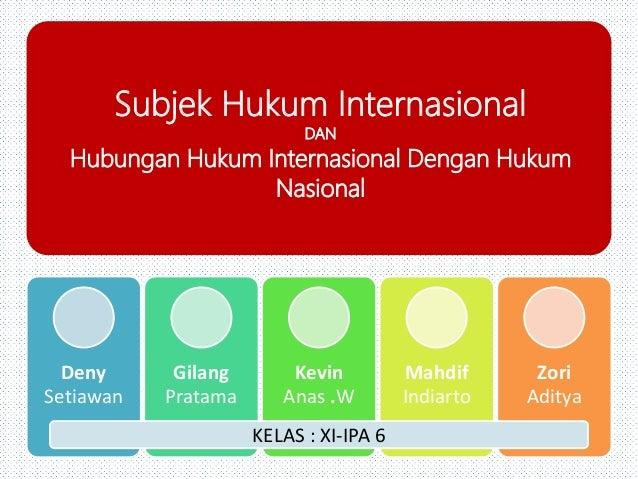 Subjek Hukum Internasional DAN Hubungan Hukum Internasional Dengan Hukum Nasional Deny Setiawan Gilang Pratama Kevin Anas ...