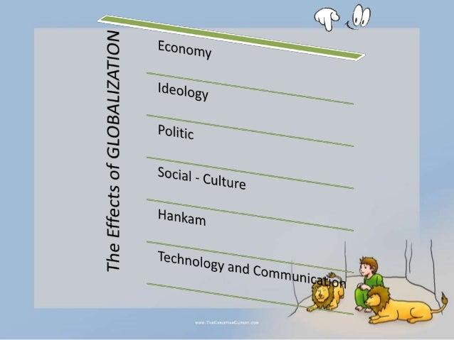 1). Ekonomi, yaitu terbentuknya masyarakat global yang tidak lagi tergantung batas- batas wilayah. Dalam globalisasi bidan...