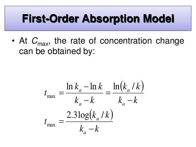 • The first-order elimination rate constant may be determined from the elimination phase of the plasma level–time curve. •...