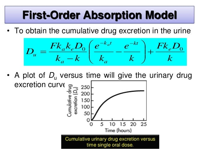 • When all of the drug has been excreted, at t = ∞. Equ. reduces to: First-Order Absorption Model k DFk D e u 0  where: ...