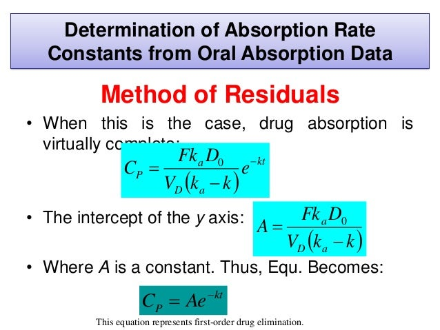 • The value of ka is obtained by the following procedure: Method of Residuals 1. Plot the drug concentration versus time o...