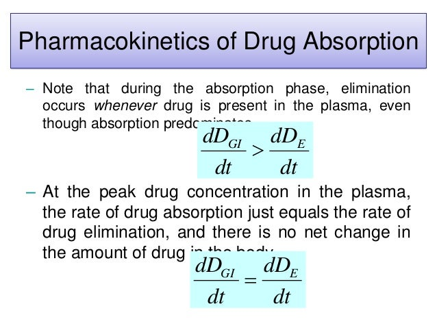 Pharmacokinetics of Drug Absorption – Note that during the absorption phase, elimination occurs whenever drug is present i...