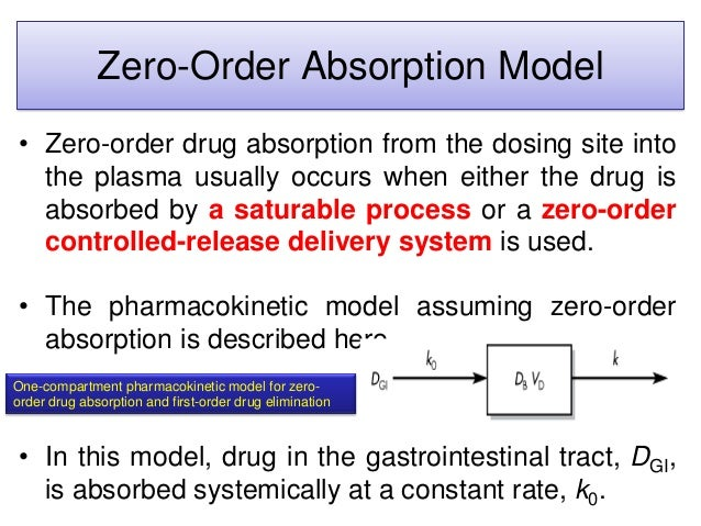 Zero-Order Absorption Model • Zero-order drug absorption from the dosing site into the plasma usually occurs when either t...
