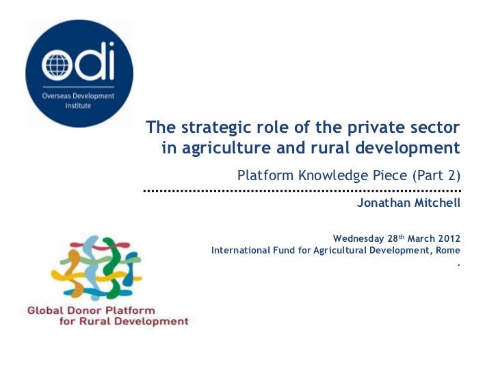 The strategic role of the private sector  in agriculture and rural development             Platform Knowledge Piece (Part ...