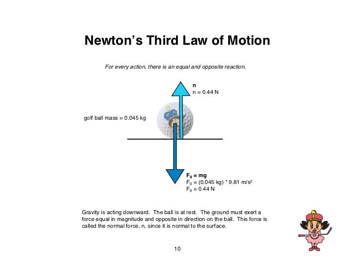 Newton's Third Law of Motion         For every action, there is an equal and opposite reaction.                           ...