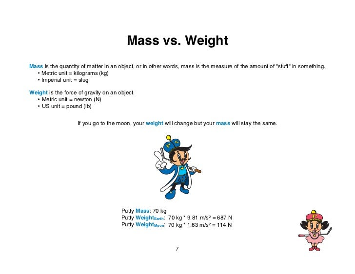 """Mass vs. WeightMass is the quantity of matter in an object, or in other words, mass is the measure of the amount of """"stuff..."""
