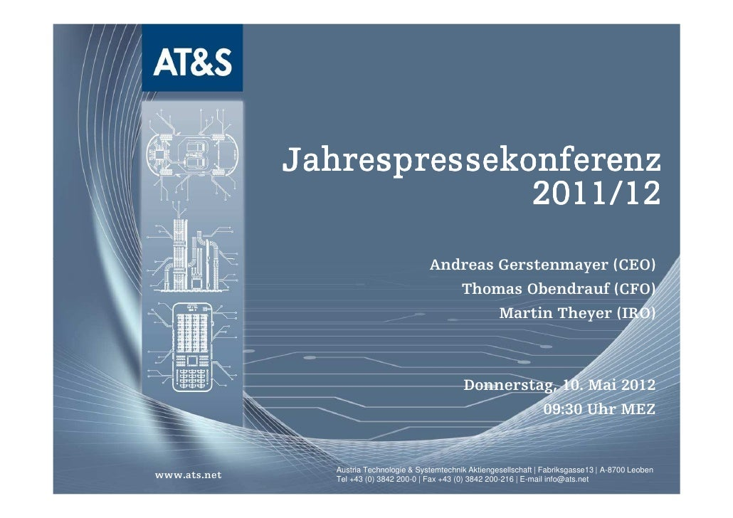 Jahrespressekonferenz                            2011/12                                         Andreas Gerstenmayer (CEO...