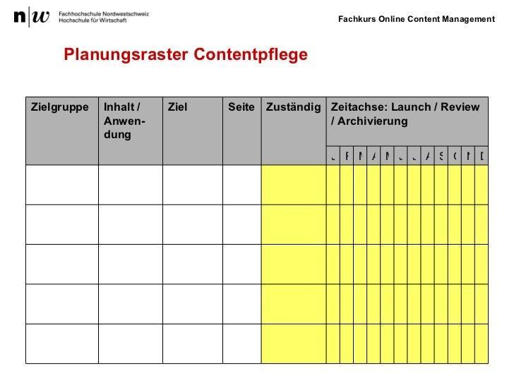 Planungsraster Contentpflege Ziel Zielgruppe Inhalt / Anwen-dung Seite Zuständig Zeitachse: Launch / Review / Archivierung...