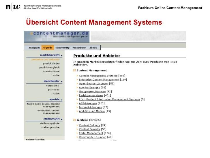 Übersicht Content Management Systems