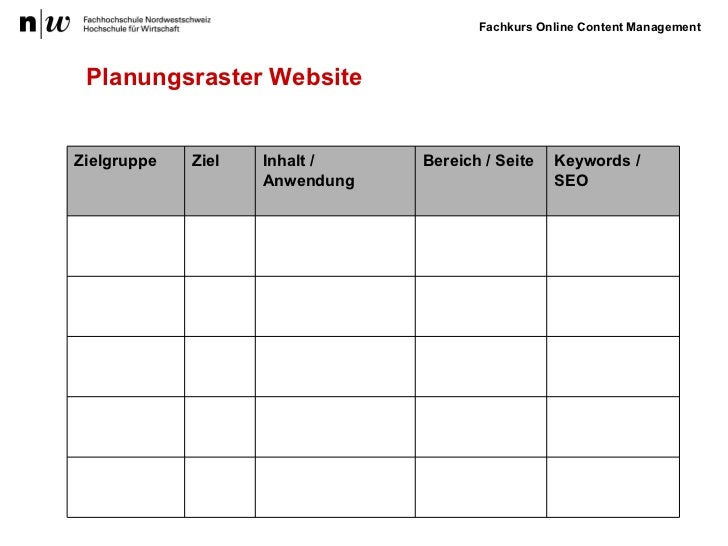 Planungsraster Website Inhalt / Anwendung Bereich / Seite Zielgruppe Ziel Keywords / SEO